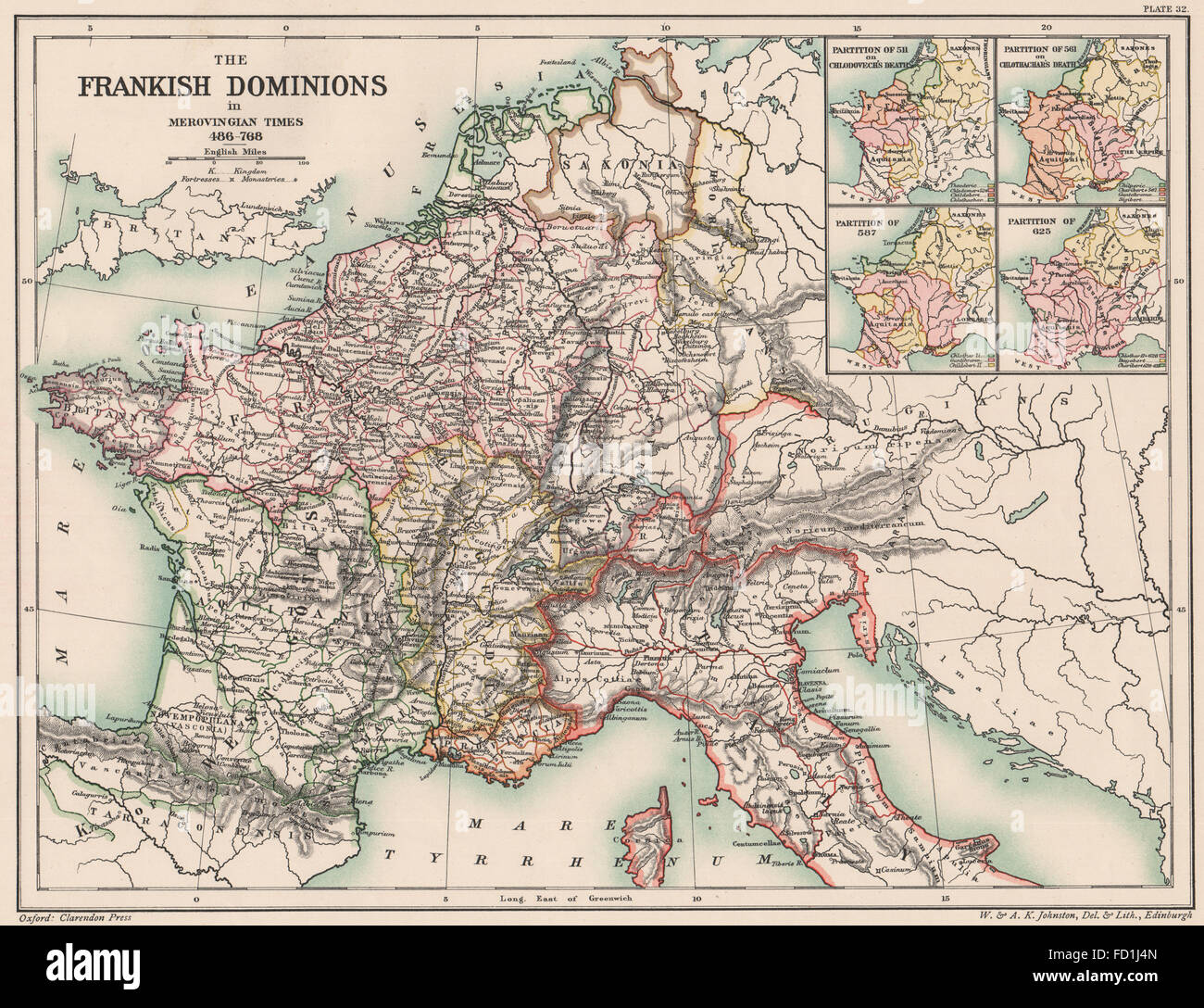 MEROVINGIAN EMPIRE 486-768: Frankish Dominions. Partitions 511 561 587, 1902 map - Stock Image