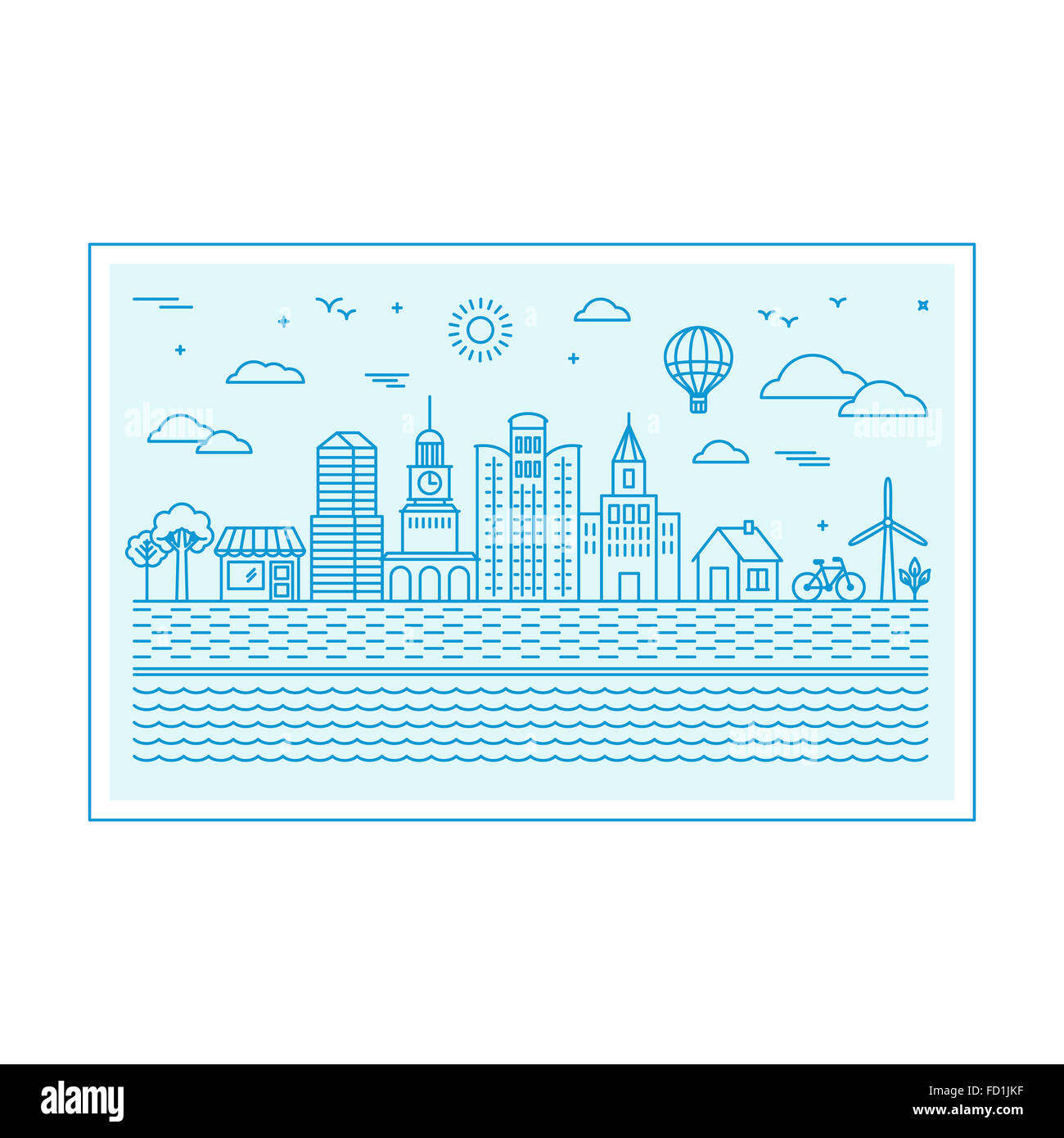 Illustration with city skyline in trendy linear style - abstract modern town  concept with icons in blue colors - Stock Image