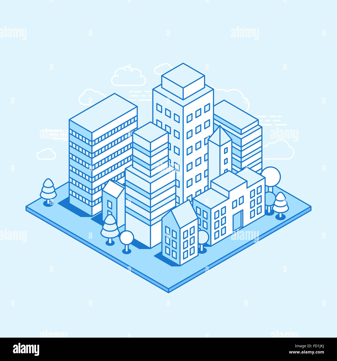 City landscape isometric illustration - business concept and banner in trendy linear style  on blue background - Stock Image