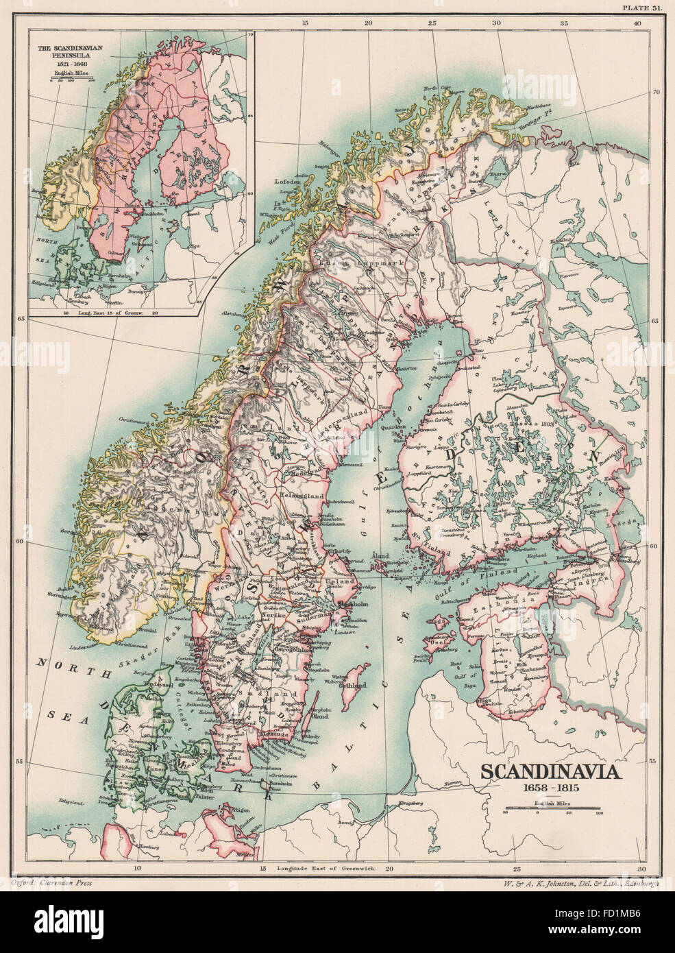 SCANDINAVIA 1658-1815: 17th 18th 19th centuries. Inset 1521–1648, 1902 old map Stock Photo