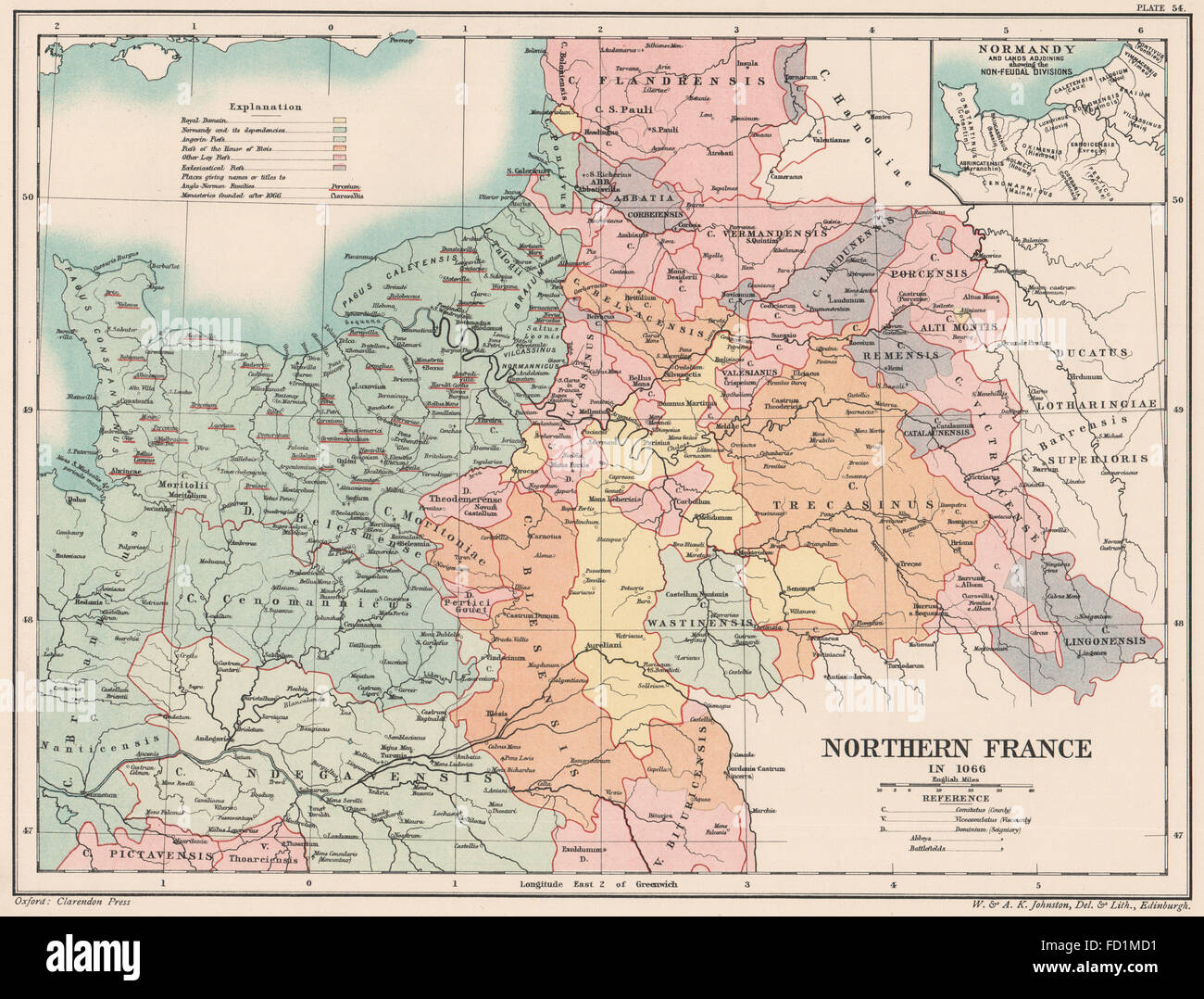 NORTHERN FRANCE 1066: Normandy &c. Non-Feudal divisions, 1902 antique map - Stock Image
