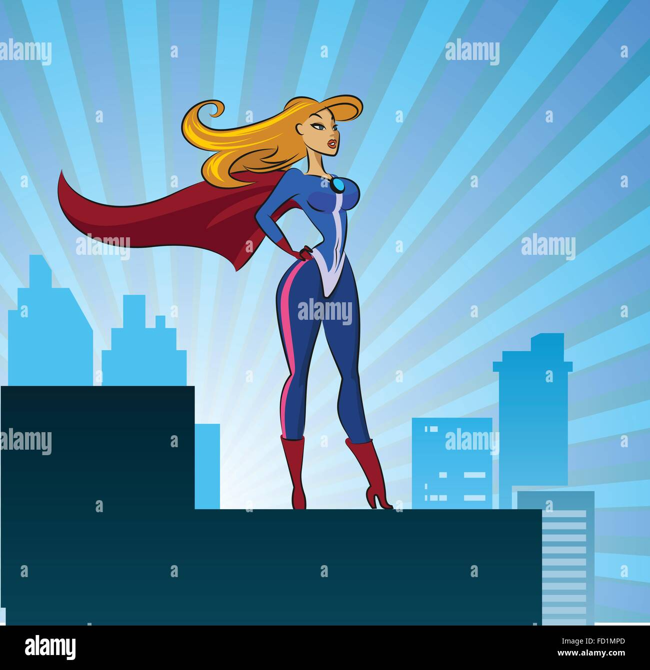 Super Hero - Female. Vector illustration isolated on a white background - Stock Vector