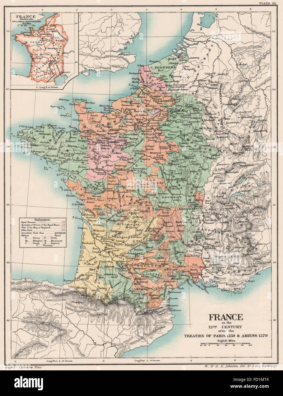 13C FRANCE:Treaties of Paris 1259 Amiens 1279.Baillages & Senechaussées  1902 map