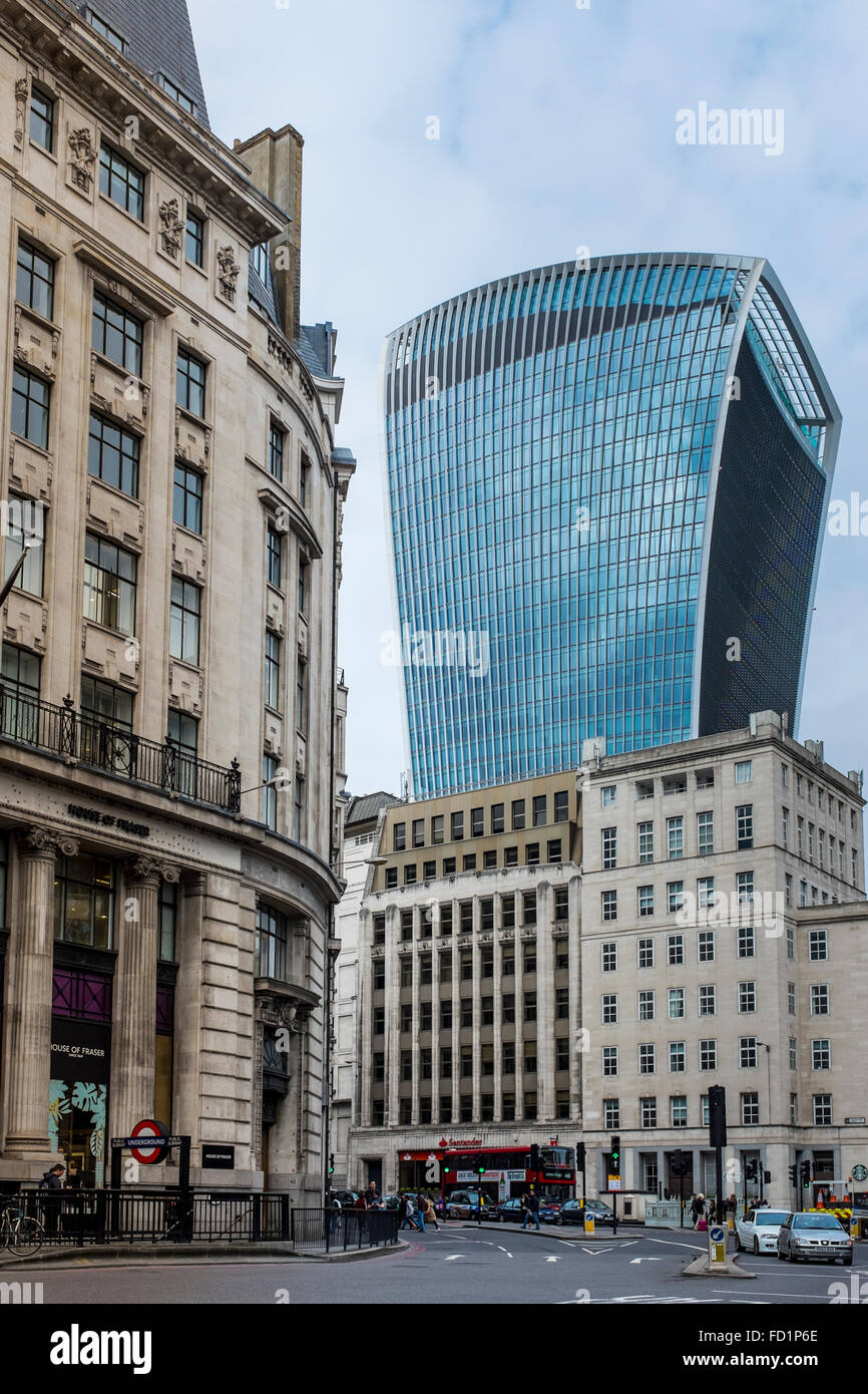 Juxtaposition Of Old And New Buildings In The City London Walkie Talkie Building Its Surrounding Area