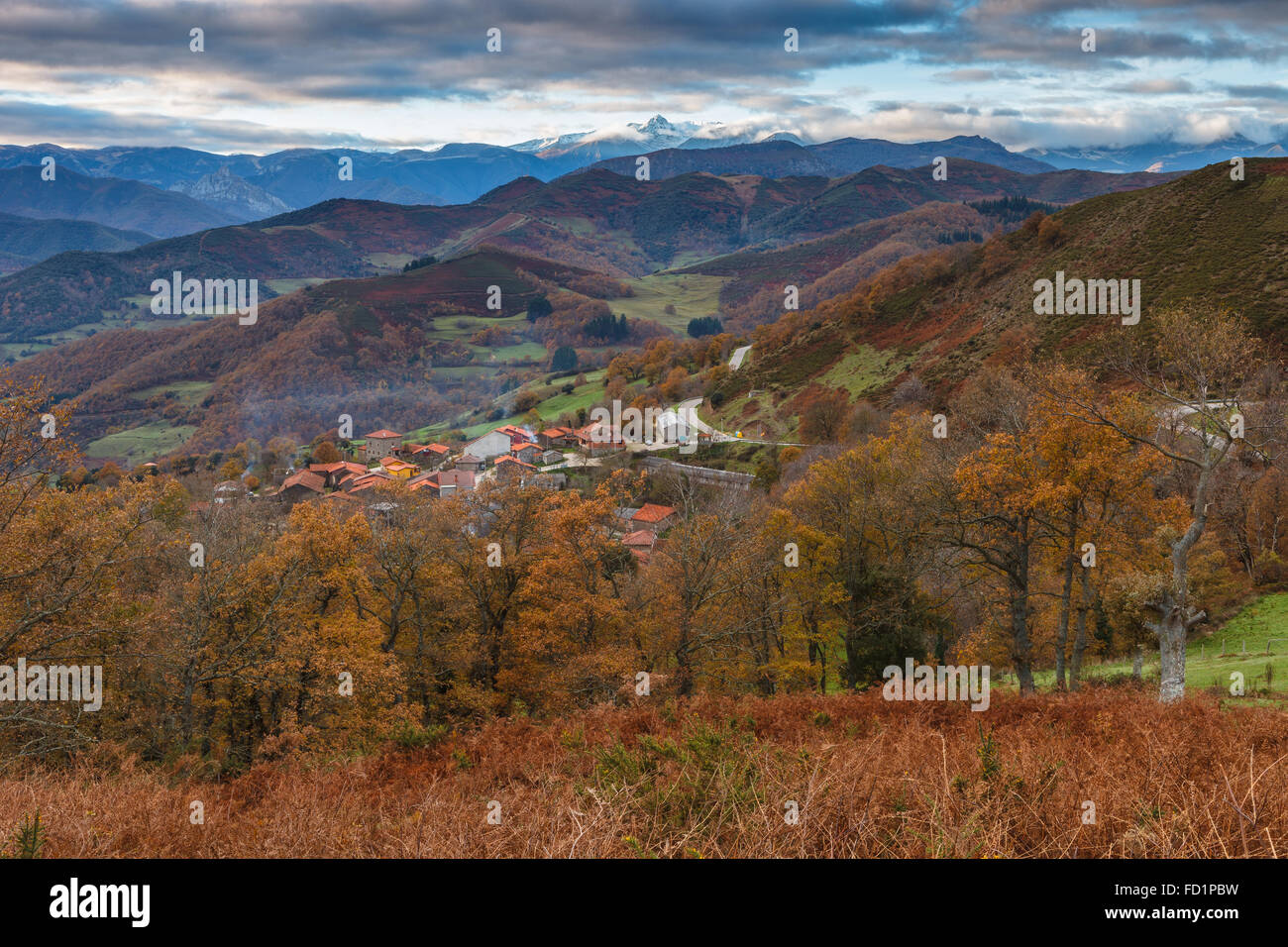 Pendes (a small town near by the Picos de Europa National Park) in autumn, Liebana, Cantabria, Spain. - Stock Image