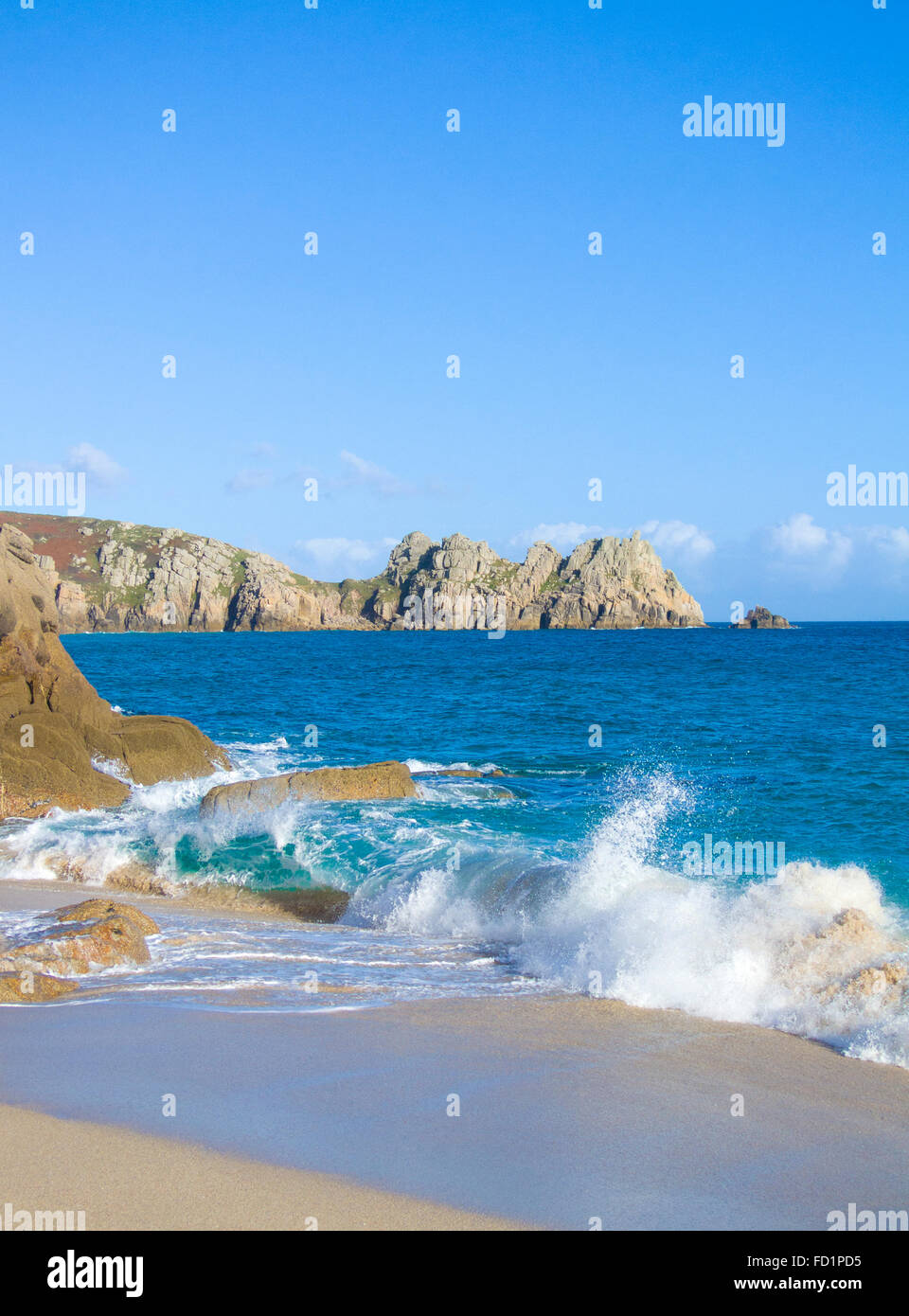Porthcurno Beach & Horrace Headland & Logan Rock Beyond, Cornwall, England, UK in Summer - Stock Image