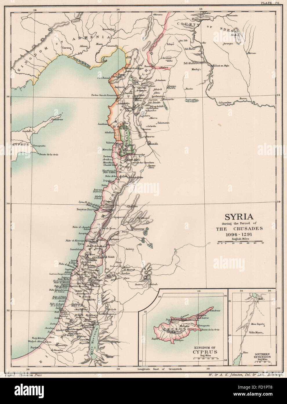 SYRIA 1096-1291: during the Crusades. 12C 13C. Inset: Kingdom of Cyprus 1902 map - Stock Image