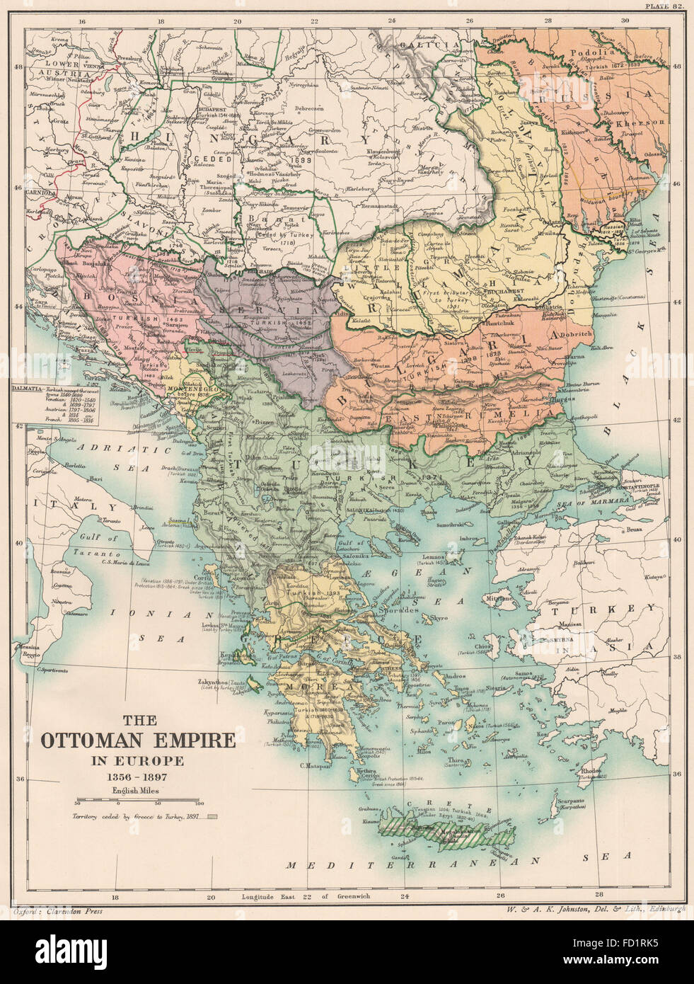 OTTOMAN EMPIRE 1356-1897: Greece Bulgaria Servia Rumania Bosnia, 1902 old  map
