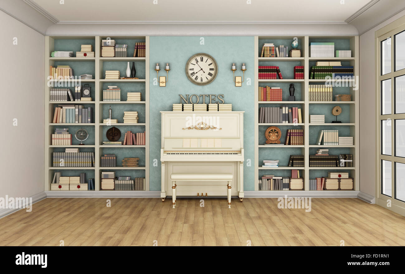 Luxury living room with large bookcase full of books and