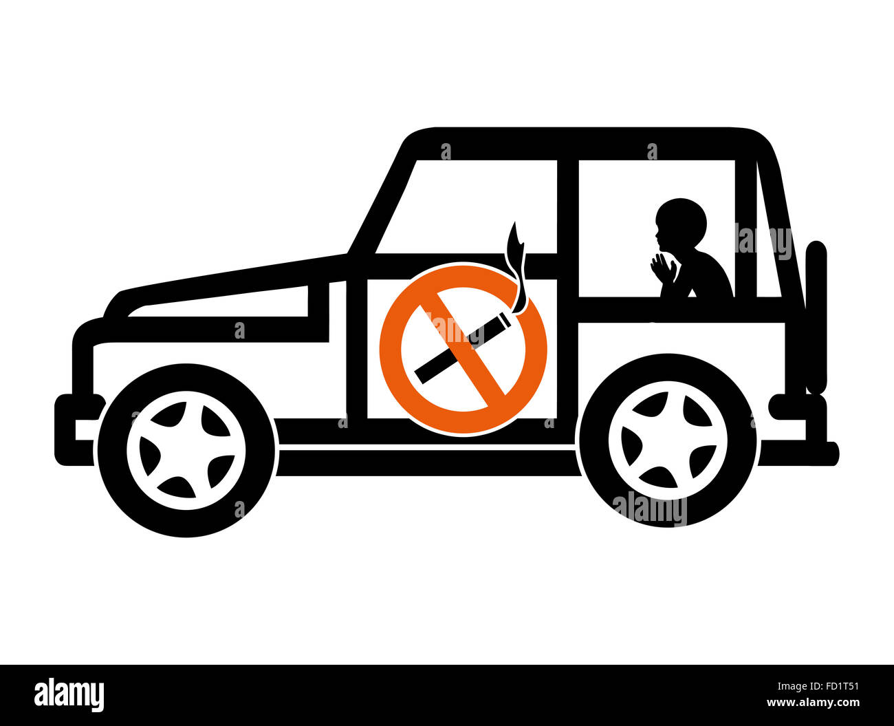 Ban Smoking in Cars with Minors - Stock Image