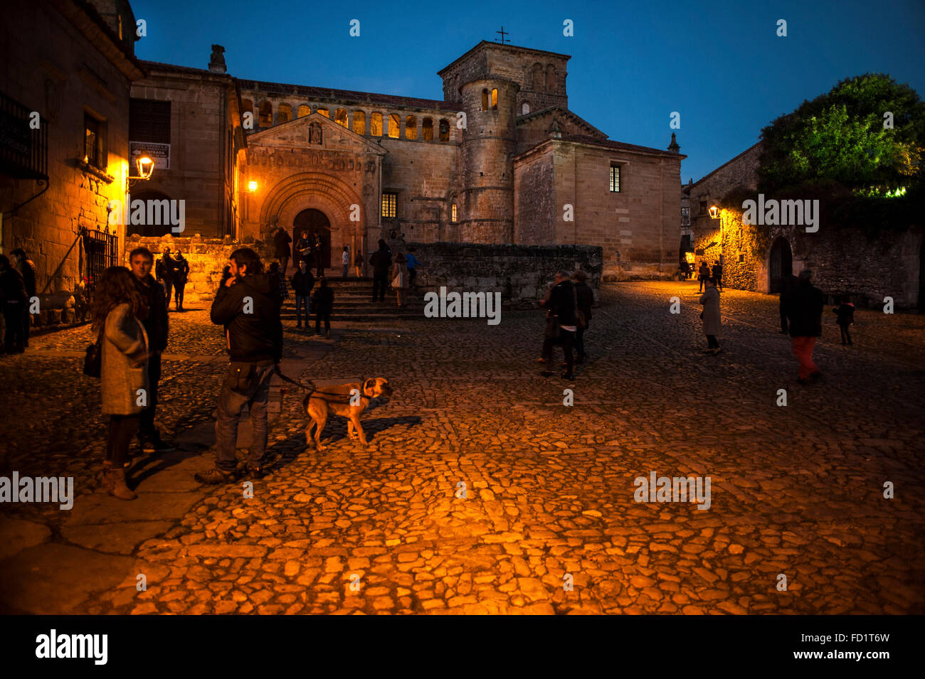 The church of Santa Juliana in Santillana del Mar is of Romanesque style and one of the architectural jewels of Stock Photo
