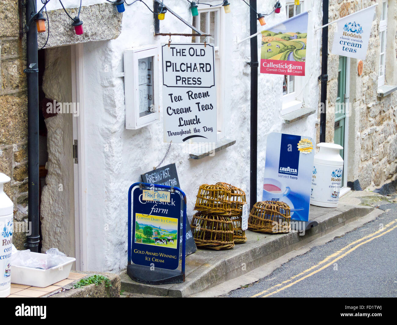 The Old Pilchard Press Tea Rooms, Mousehole Village, Cornwall, England, UK Stock Photo