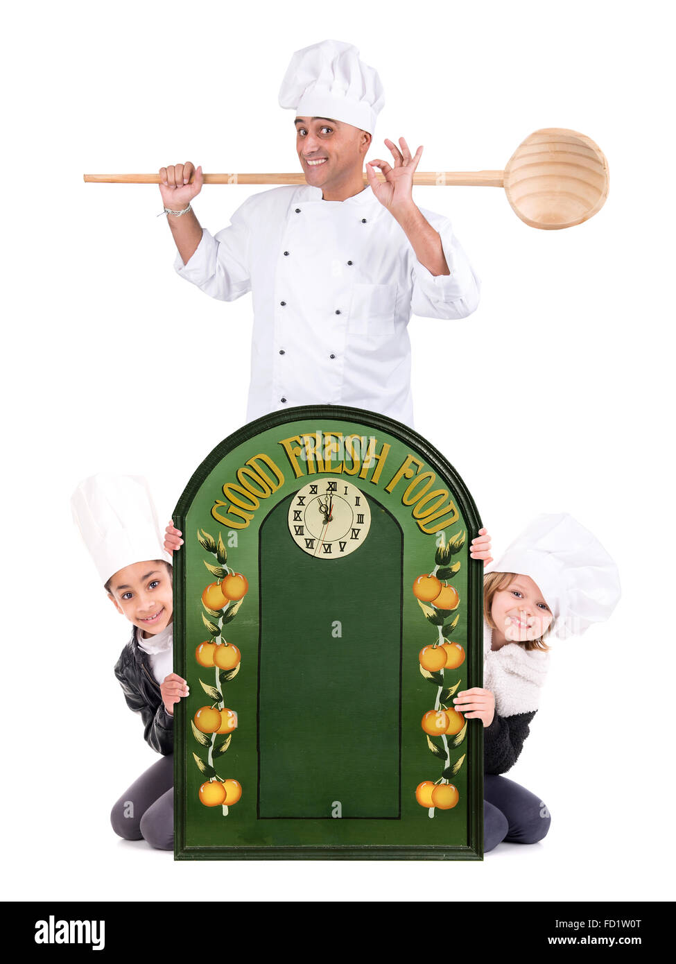 Male chef with young chefs isolated on white background - Stock Image