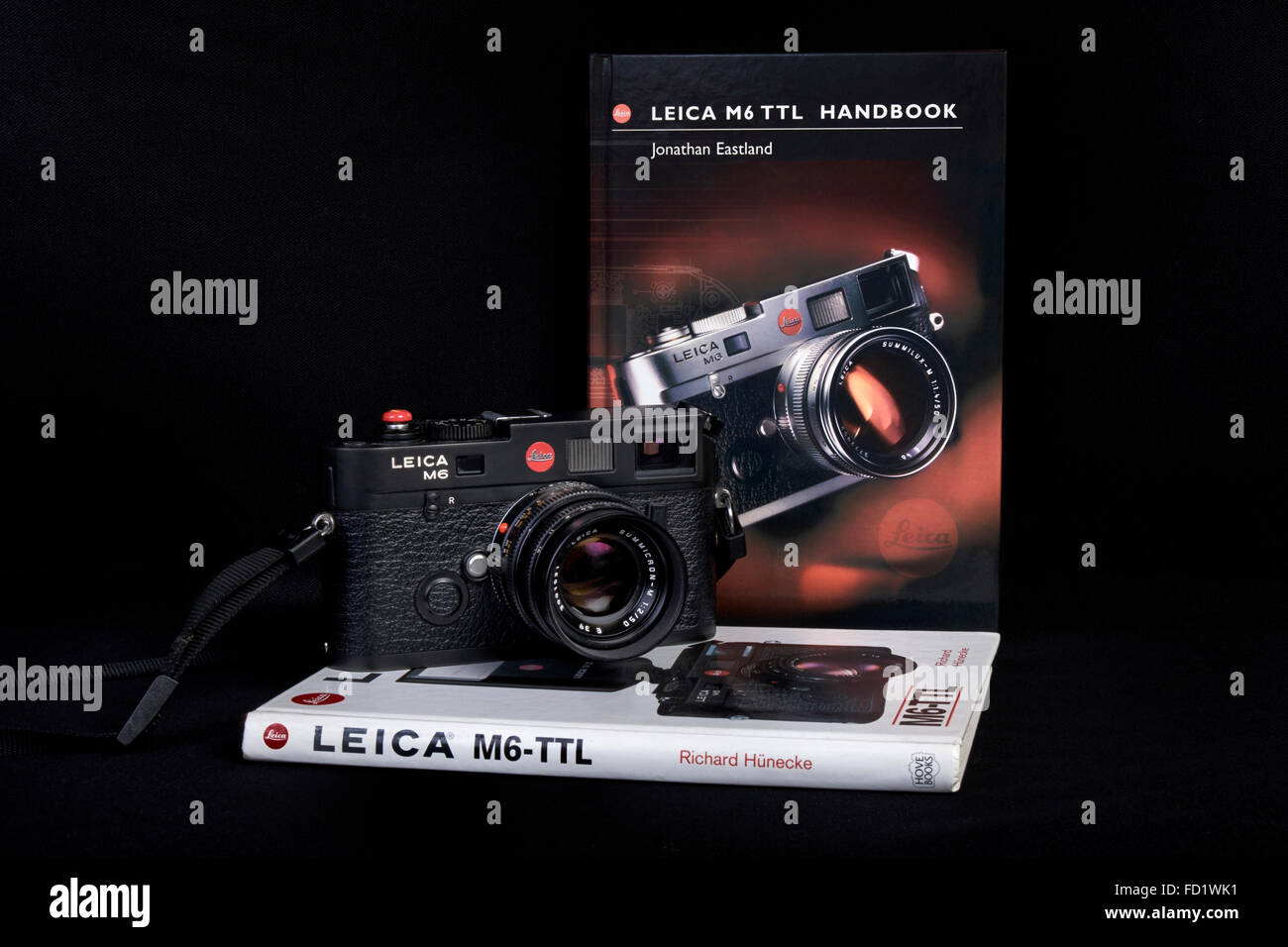 Leica M6 TTL classic 35mm vintage rangefinder film camera and handbooks. Stock Photo