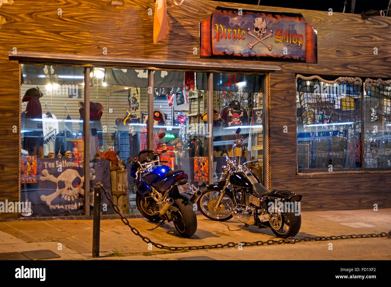 Motorbikes in front of Pirate Shop store in Fort Lauderdale, Florida