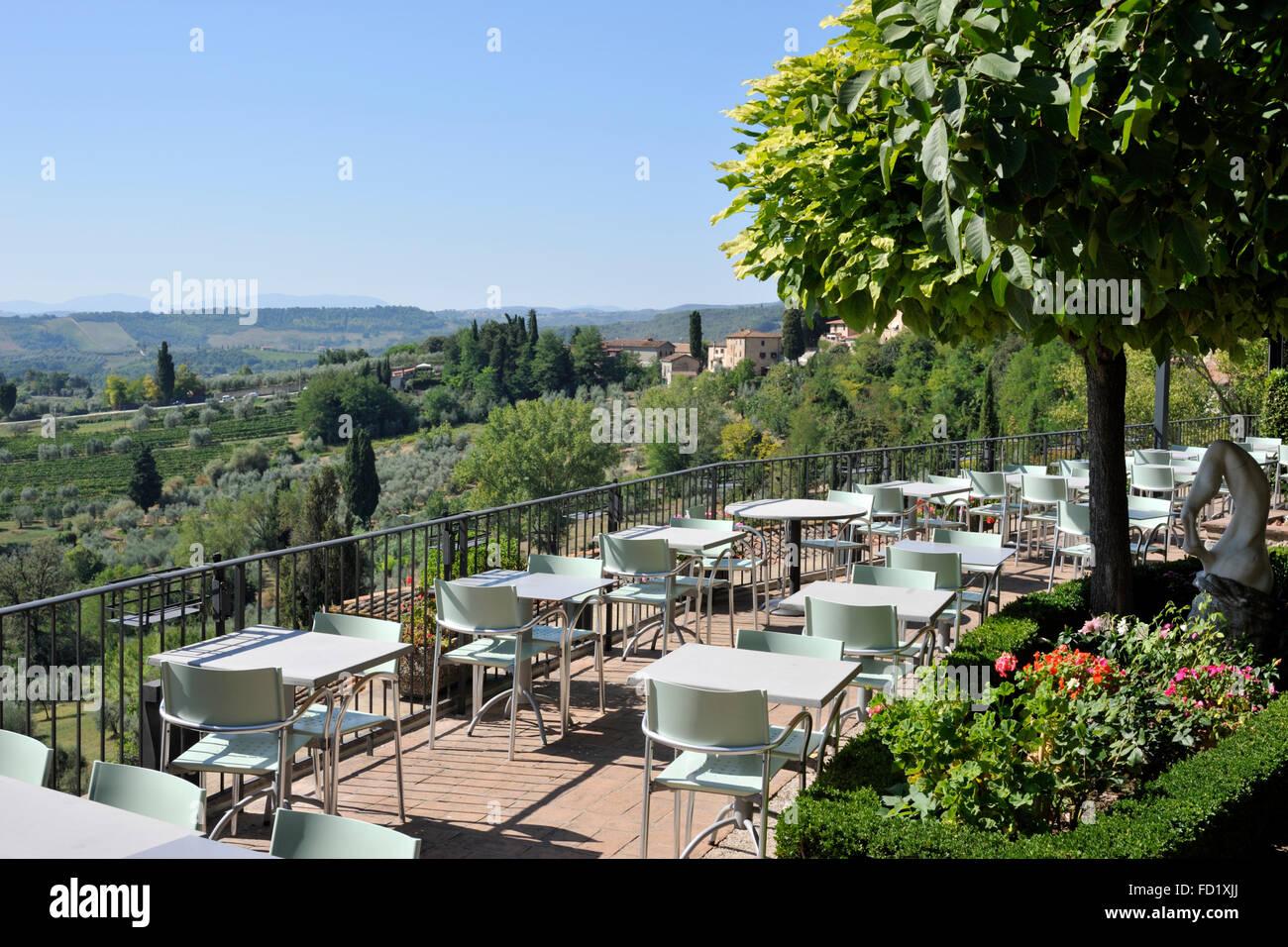 Restaurant Le Vecchie Mura San Gimignano Tuscany Italy Stock Photo Alamy