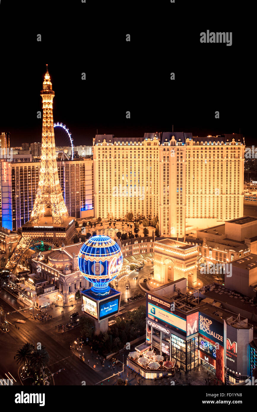 Golden Night scene across hotel and casinos in Las Vegas - Stock Image