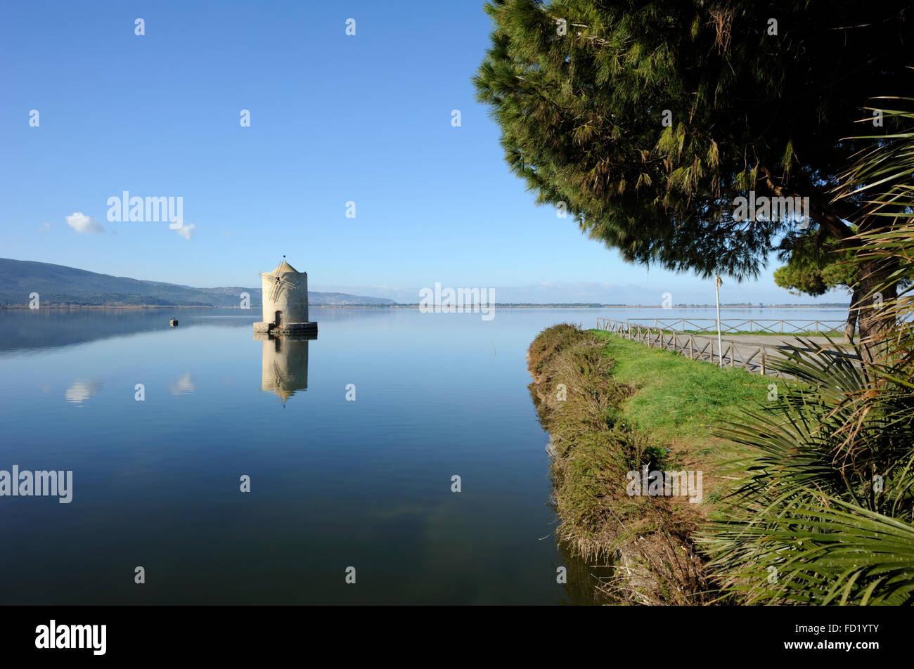 italy, tuscany, argentario, orbetello, lagoon, ancient windmill - Stock Image
