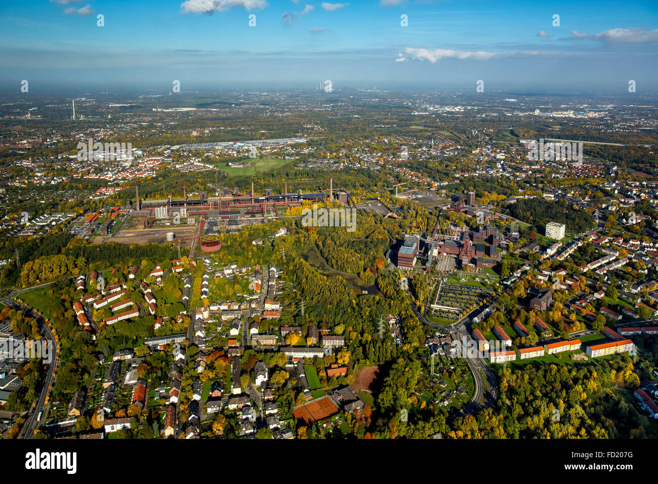 View of city and Zollverein Coal Mine Industrial Complex, autumn, Essen, Ruhr district, North Rhine-Westphalia, - Stock Image
