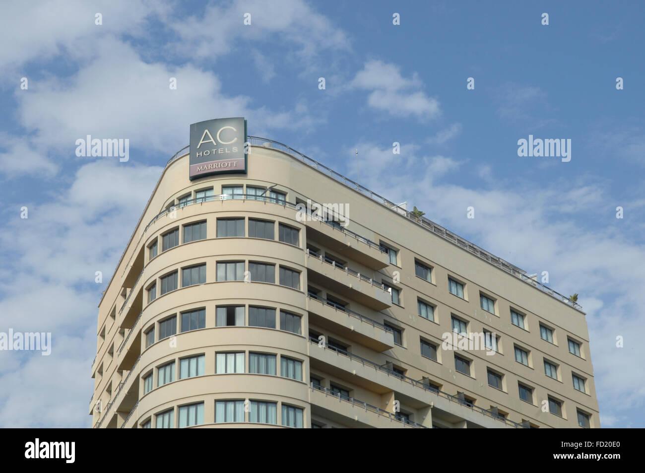 AC Hotel Málaga Palacio Marriott 5 star in central Malaga Spain. - Stock Image