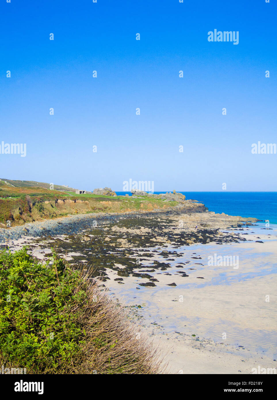 Porthmeor Beach& Carrick Du Headland, St Ives, Cornwall, England, UK in Summer - Stock Image