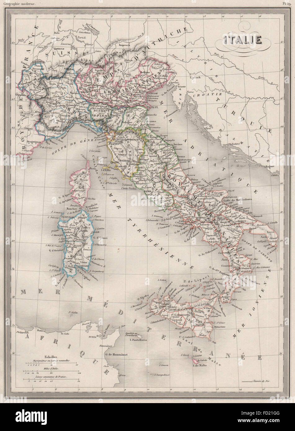 Showing states Original outline colour Italie ITALY MALTE-BRUN c1846 map