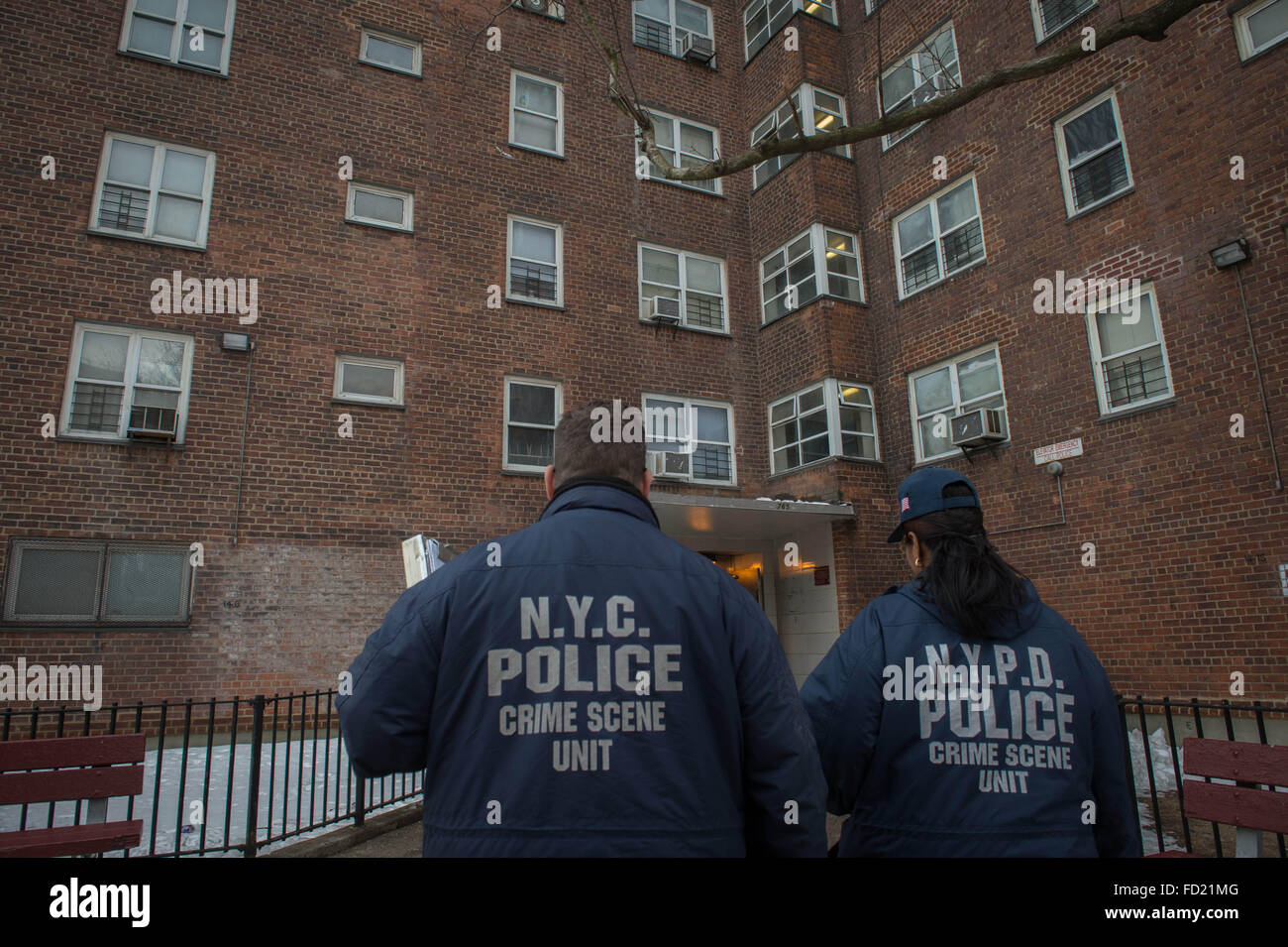 New York, NY, USA. 26th Jan, 2016. NYPD Crime Scene Unit arrives to the scene where a New York City police officer - Stock Image
