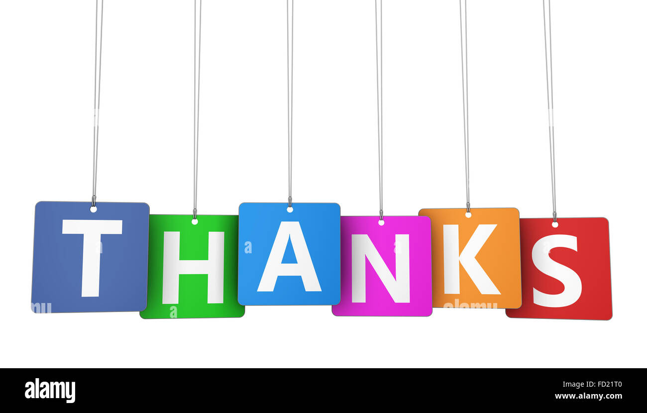 Thanks Sign And Letters On Hanged Colorful Paper Tags Marketing And