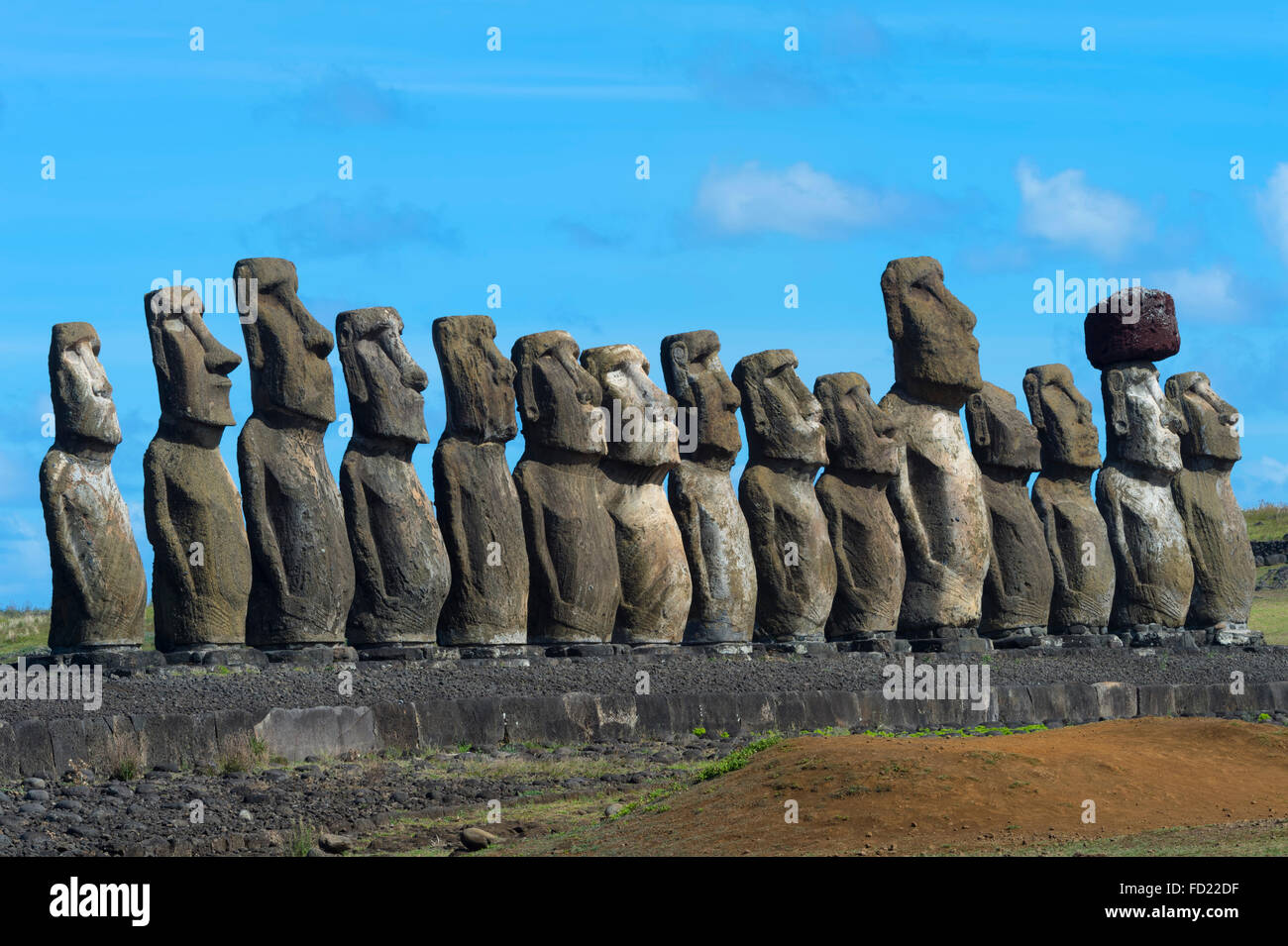 Moais at Ahu Tongariki, Rapa Nui National Park, Easter Island, Chile, Unesco World Heritage Stock Photo