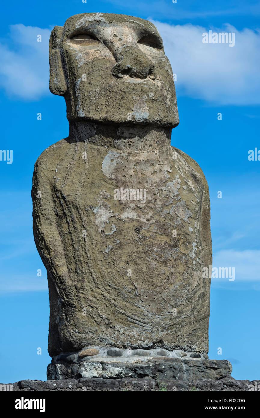 Moai, Ahu Tongariki, Rapa Nui National Park, Easter Island, Chile, Unesco World Heritage - Stock Image