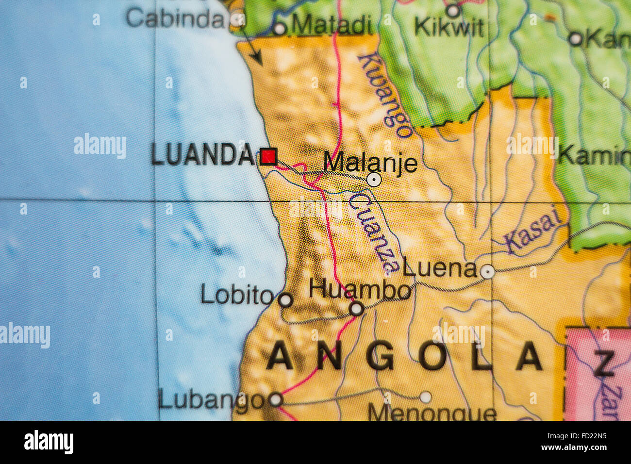 Photo of a map of Republic of Angola and the capital Luanda . - Stock Image