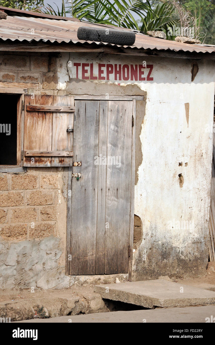 Togo, Nayamassilla village, local public phone Stock Photo