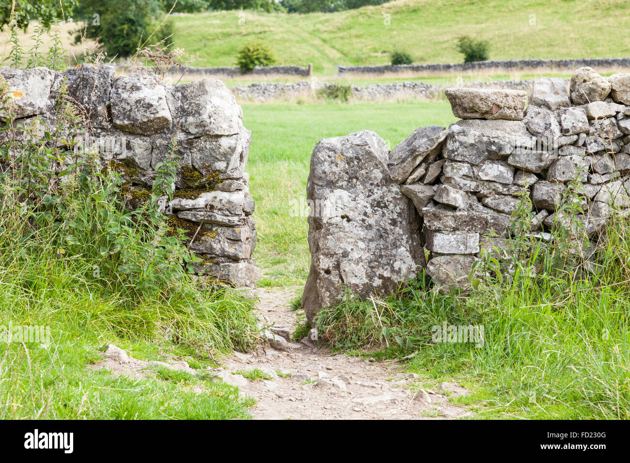 Squeeze stile, or squeezer stile, in a dry stone wall, Lathkill Dale, Derbyshire, Peak District, England, UK - Stock Image