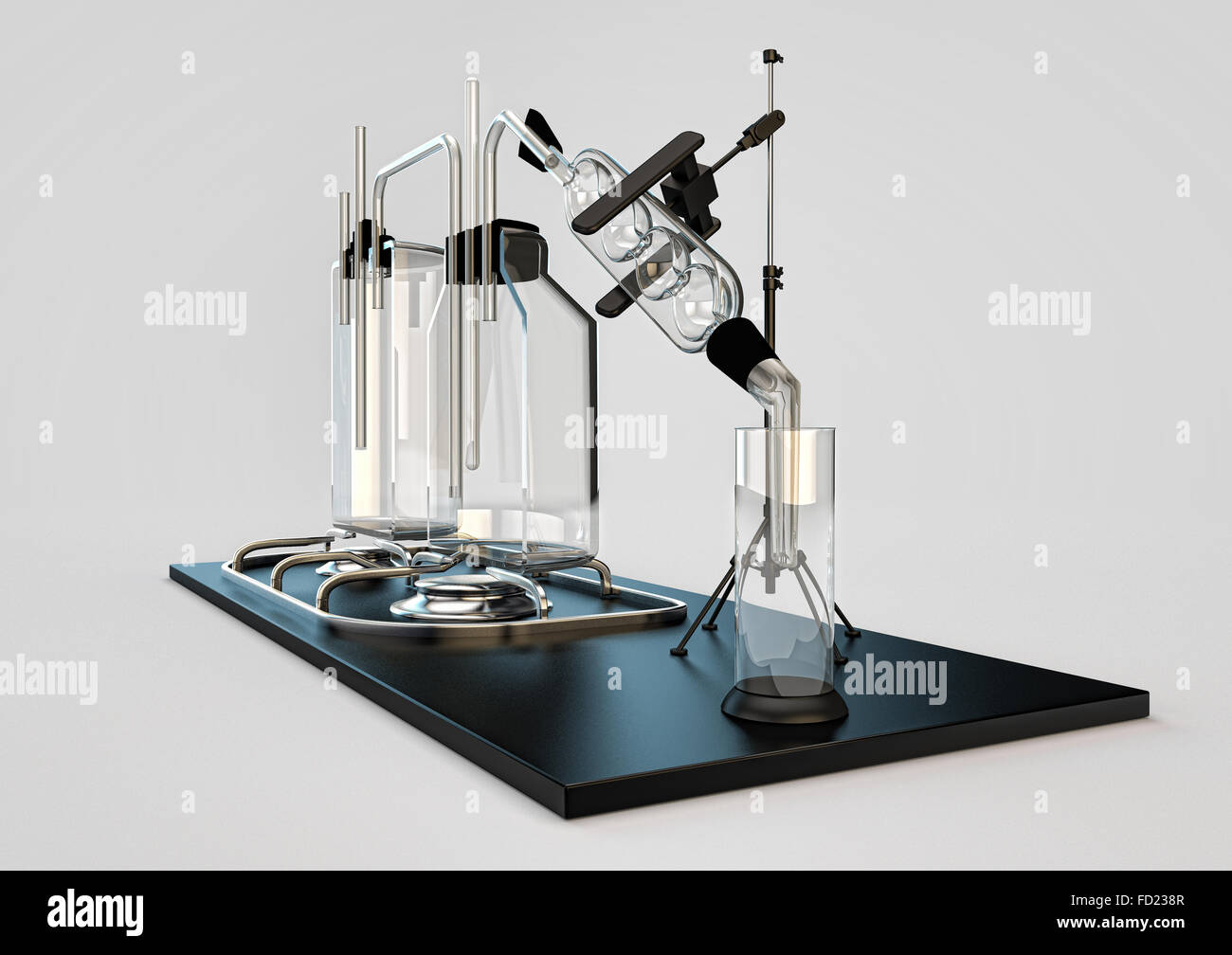 hooch still. device for cooking alcohol. moonshine of transparent flasks and retorts for distillation of liquids. - Stock Image