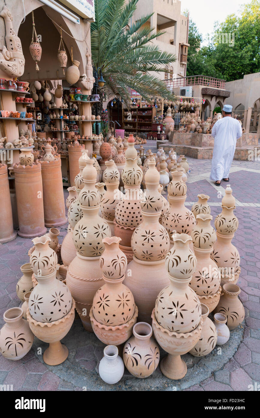 Ceramic pots for sale at Souk in Nizwa Oman - Stock Image