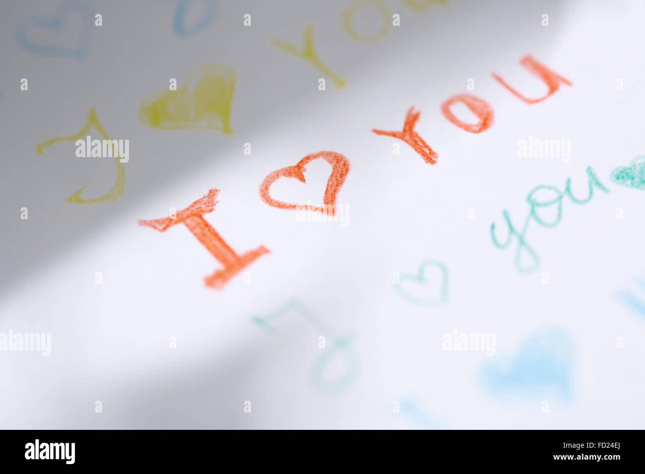 Paper with love you message. Close-up view - Stock Image