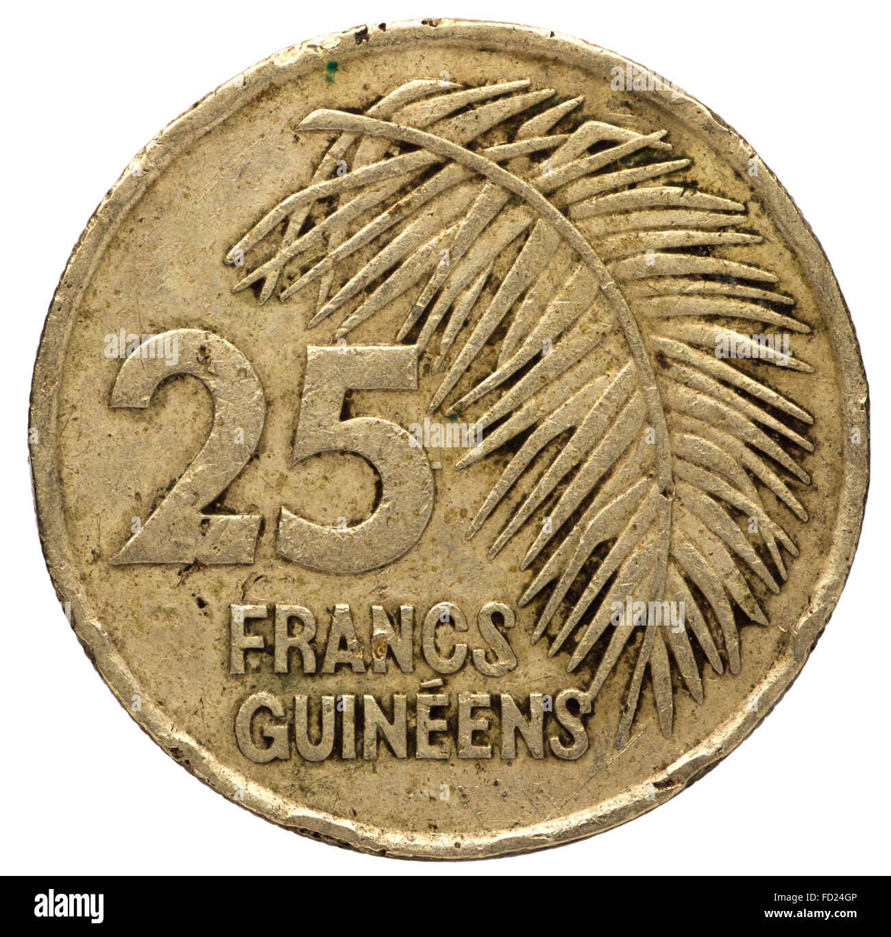 25 Guinean franc coin, 1987, obverse, isolated on white background - Stock Image