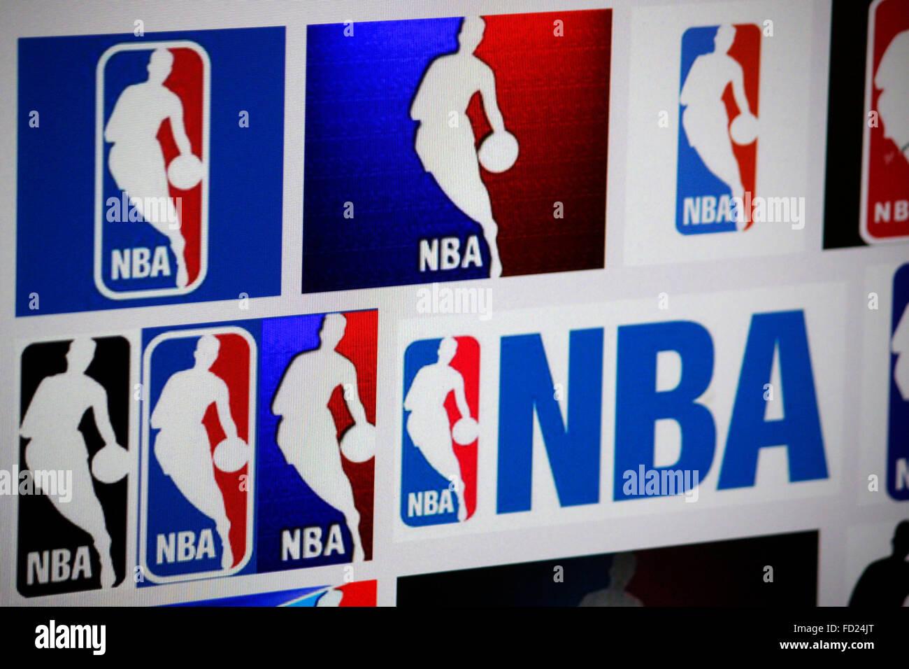 Markenname: 'NBA National Basketball Association' , Berlin. - Stock Image