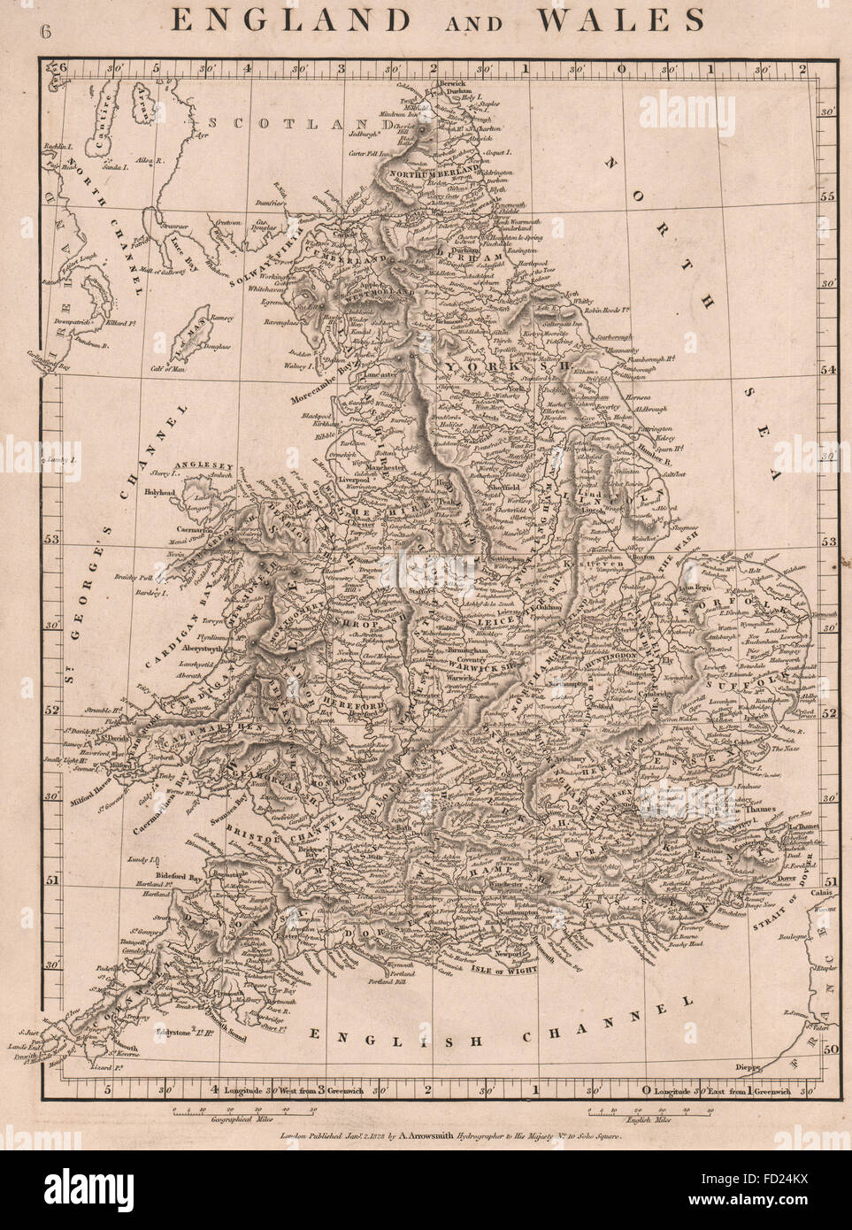 Map Of England Counties And Towns.England And Wales Counties Towns Arrowsmith 1828 Antique Map
