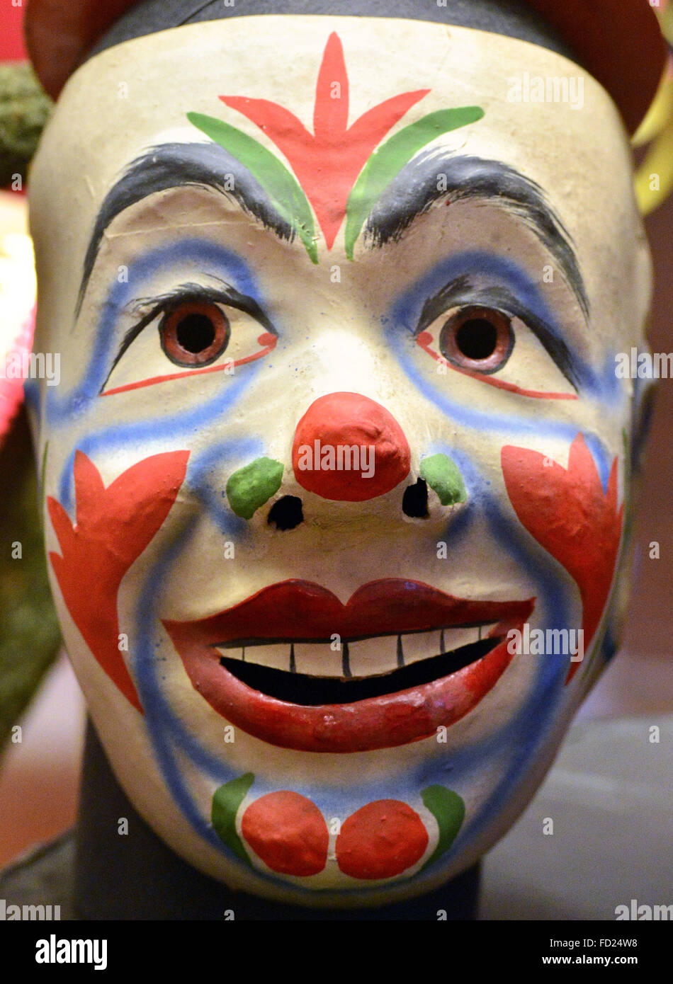 A Carnival mask from Thuringia is presented at the exhibition 'Zwischen Buett & Politik: Fasching und Karneval - Stock Image