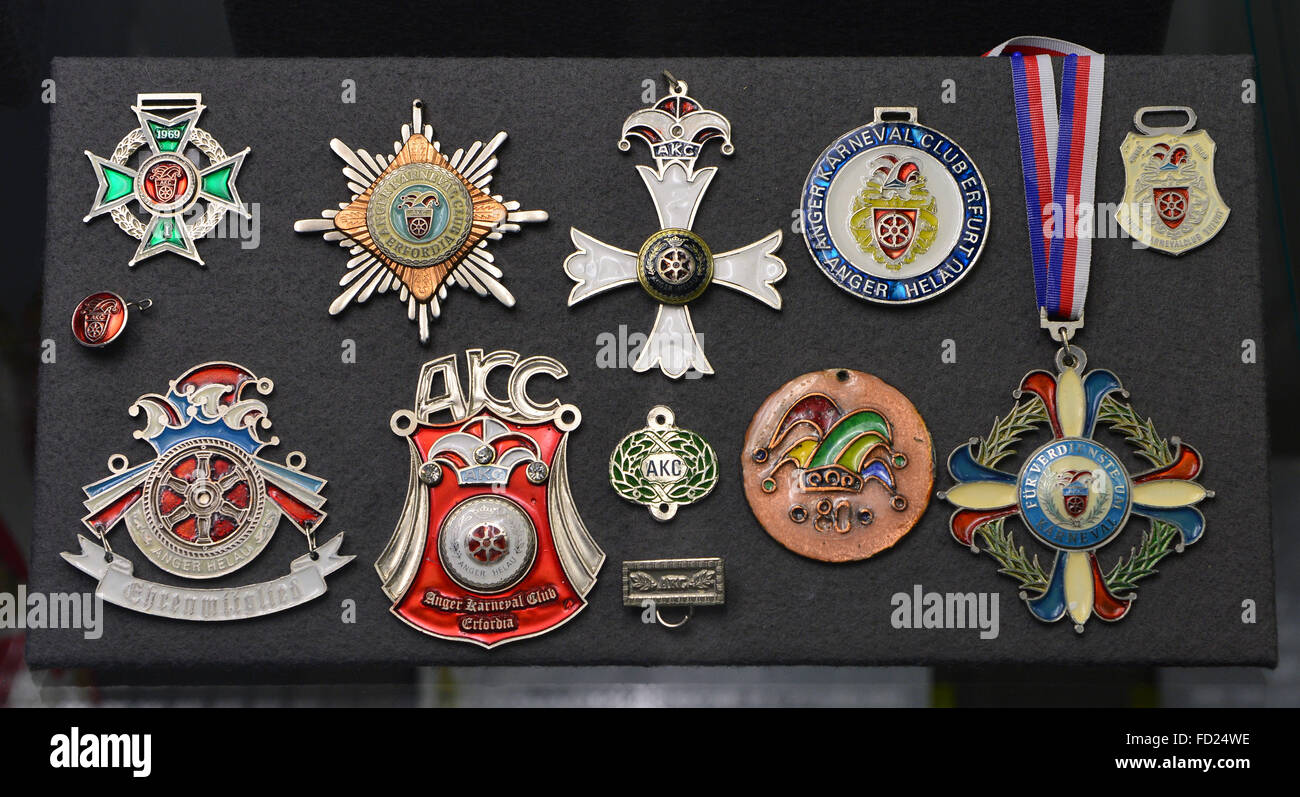 A variety of Carnival medals of Carnival association 'Anger Karneval Club Erfordia' are presented at the - Stock Image