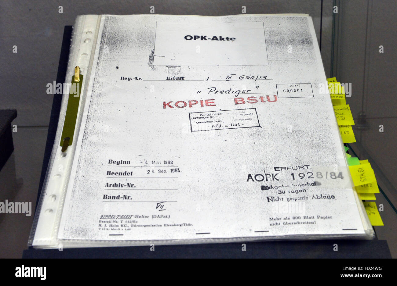 A copy of the original document of the former GDR state security service Stasi, on intelligence operation 'Prediger' - Stock Image