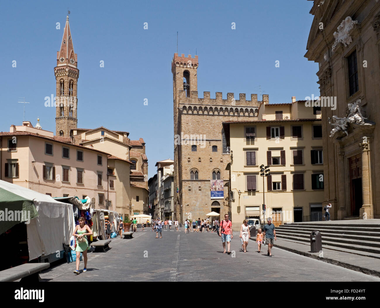 Piazza San Firenze square with the church Badia Fiorentina and Palazzo Del Bargello, Florence, Italy - Stock Image