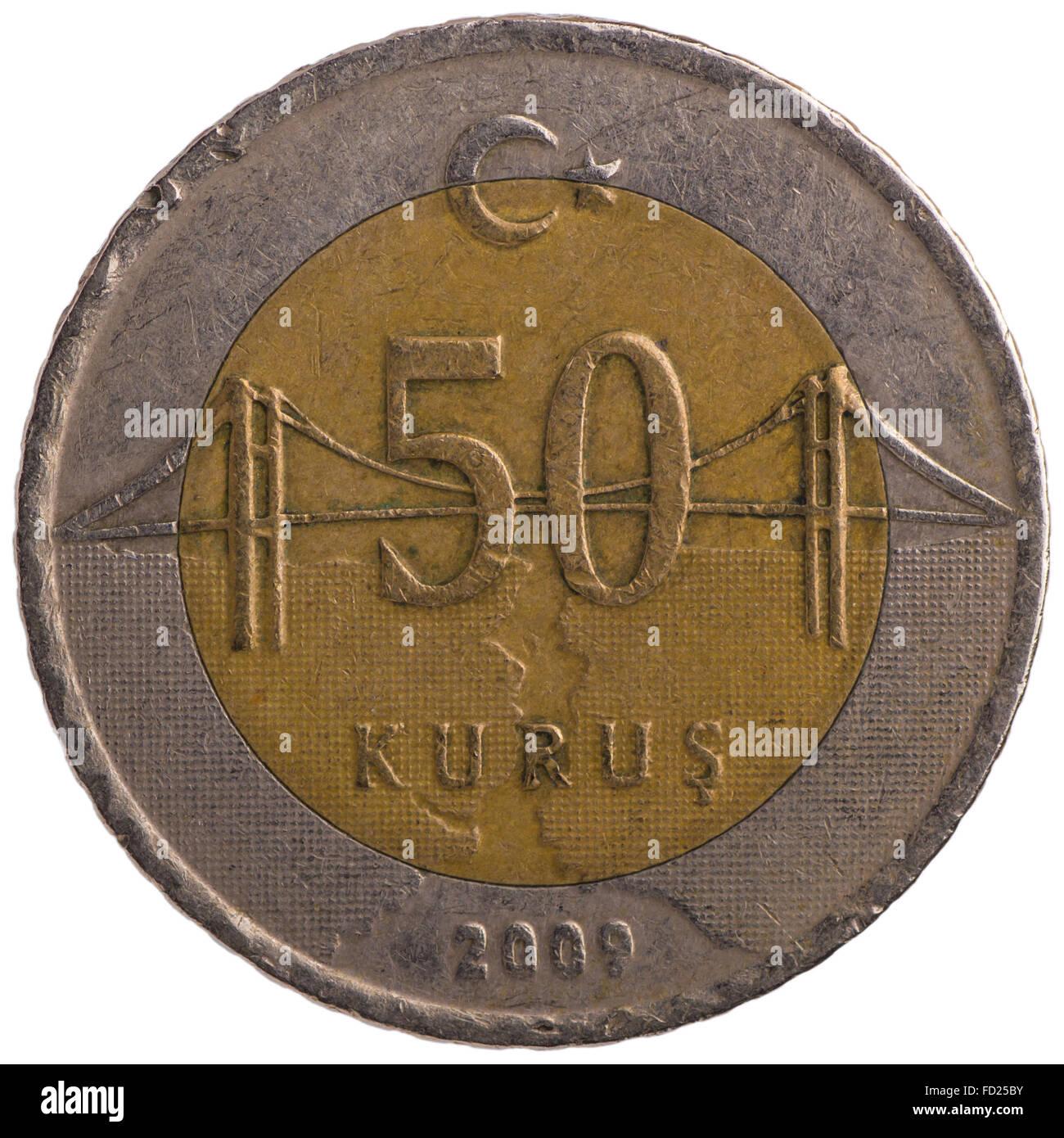 50 Turkish kurus coin, 2009, back, isolated on white background Stock Photo