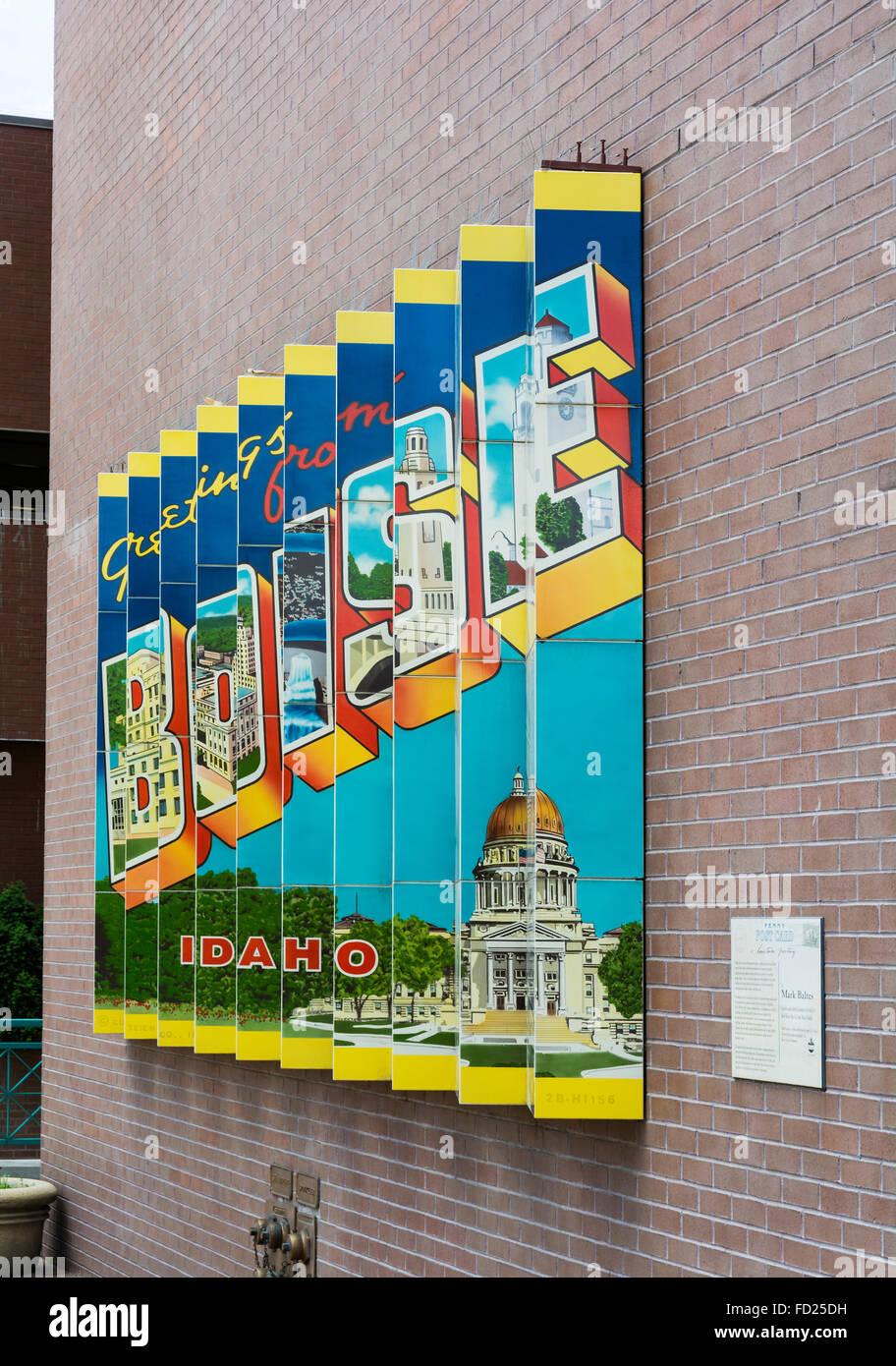 Idaho, Boise, 'Penny Postcard' public artwork dual face picture plane mural - Stock Image