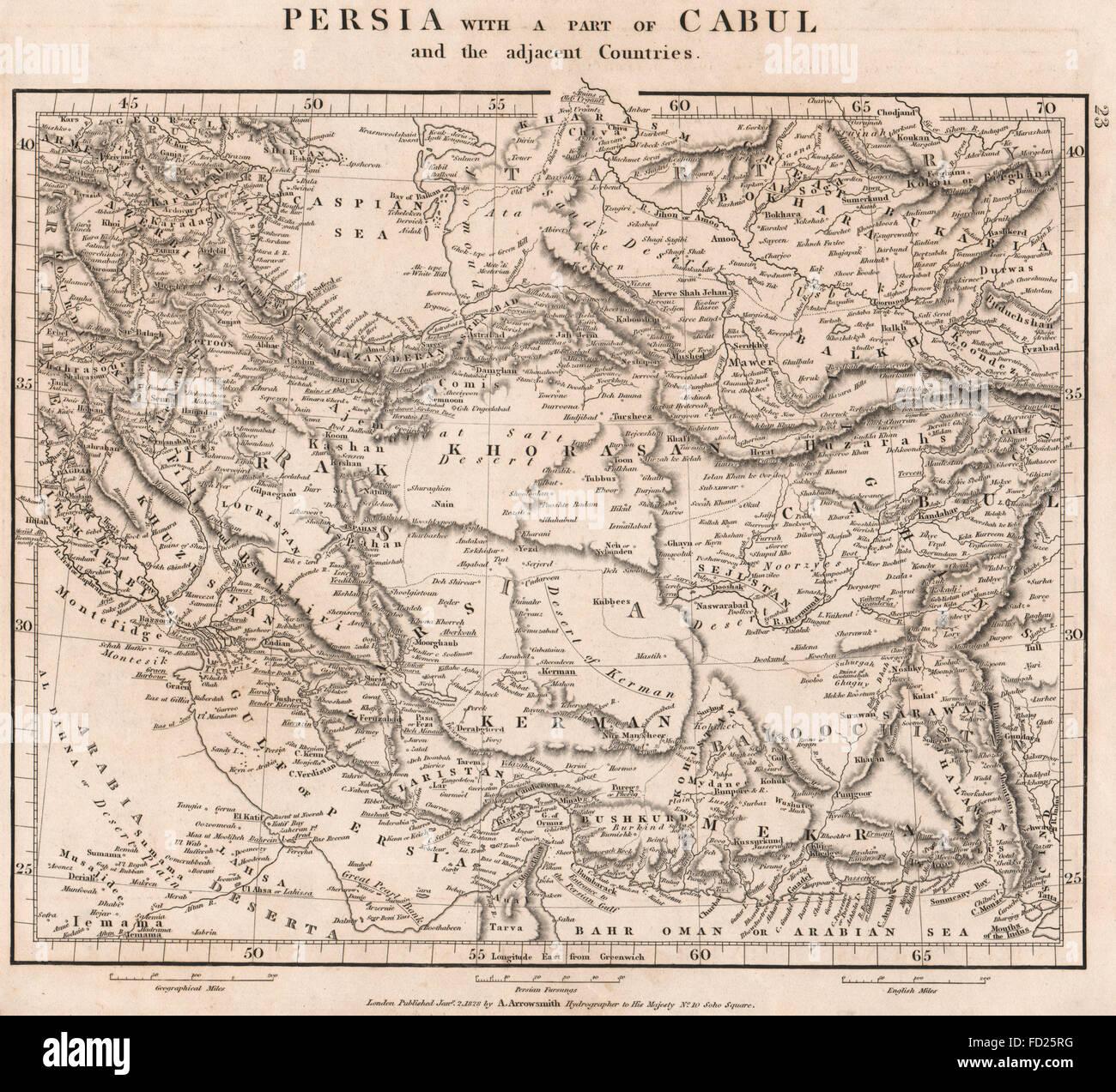 SOUTH WEST ASIA:Persia(Iran)Kabul Afghanistan Irak Kerman.ARROWSMITH, 1828 map - Stock Image