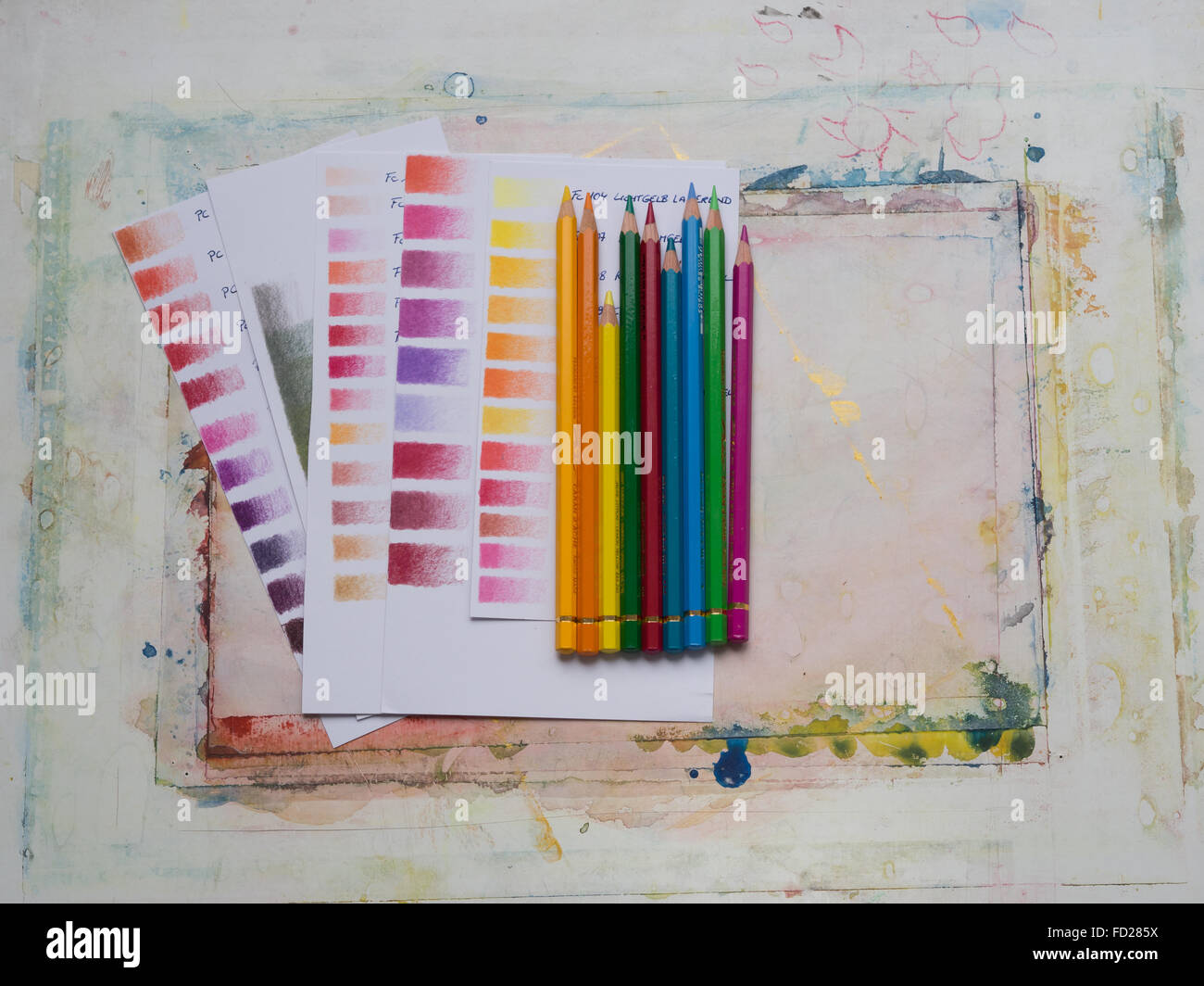 Colored pencils color swatches - Stock Image