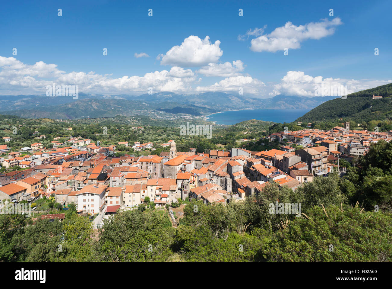 Village San Giovanni a Piro with panorama view to mountains and Gulf of Policastro at the coast of Cilento in southern - Stock Image