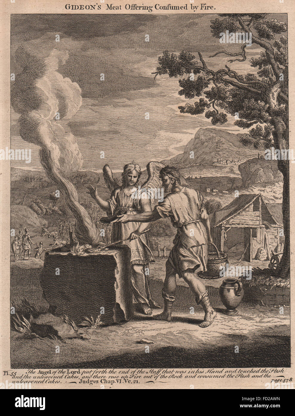 BIBLE: Judges 6:21 Gideon's meat offering consumed by fire, antique print 1752 - Stock Image