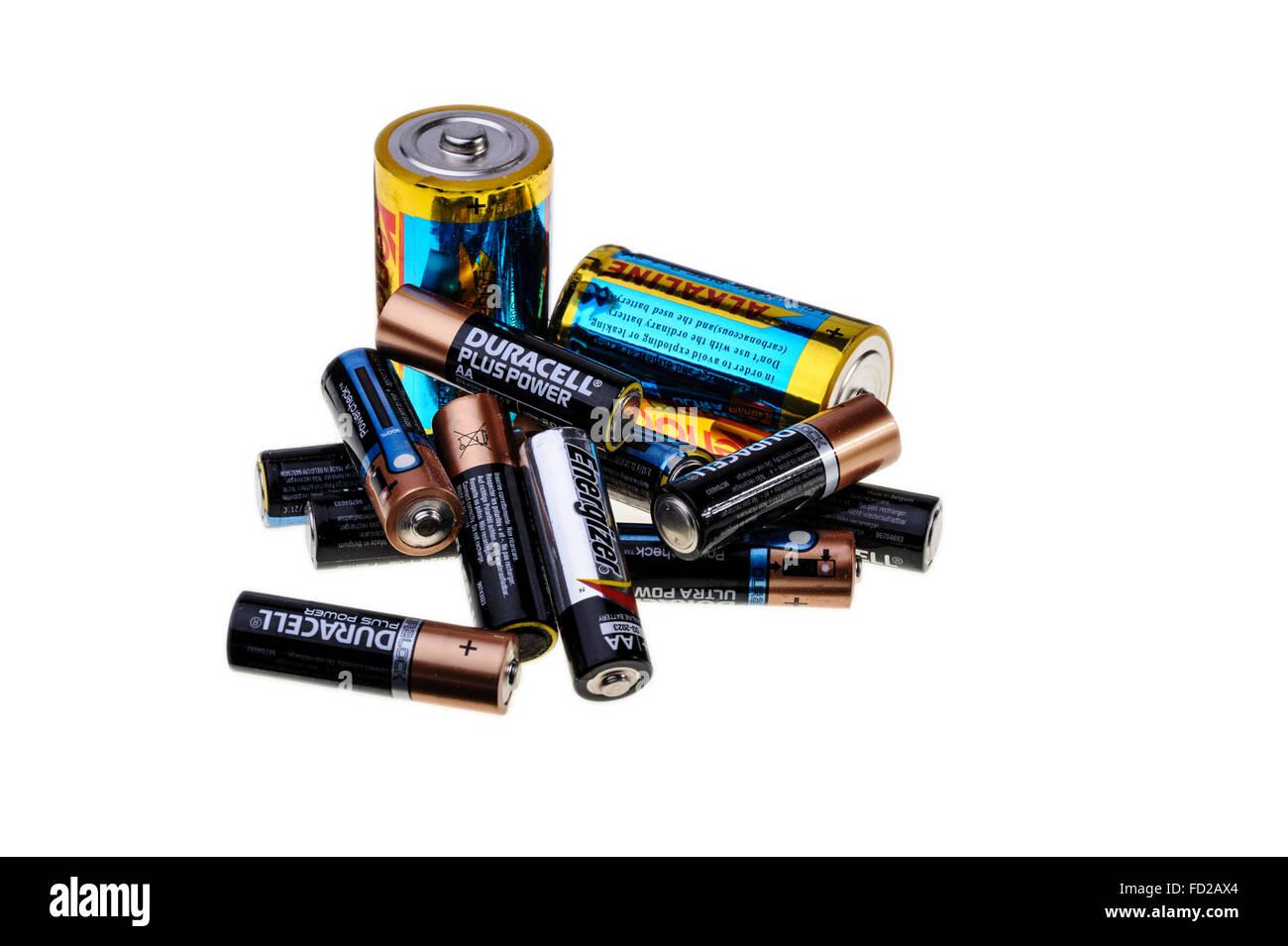 Old used alkaline batteries. - Stock Image